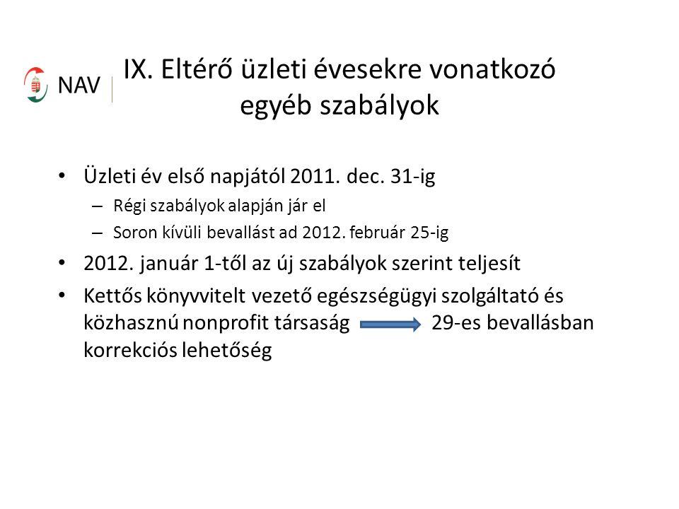 IX. Eltérő üzleti évesekre vonatkozó egyéb szabályok Üzleti év első napjától 2011.