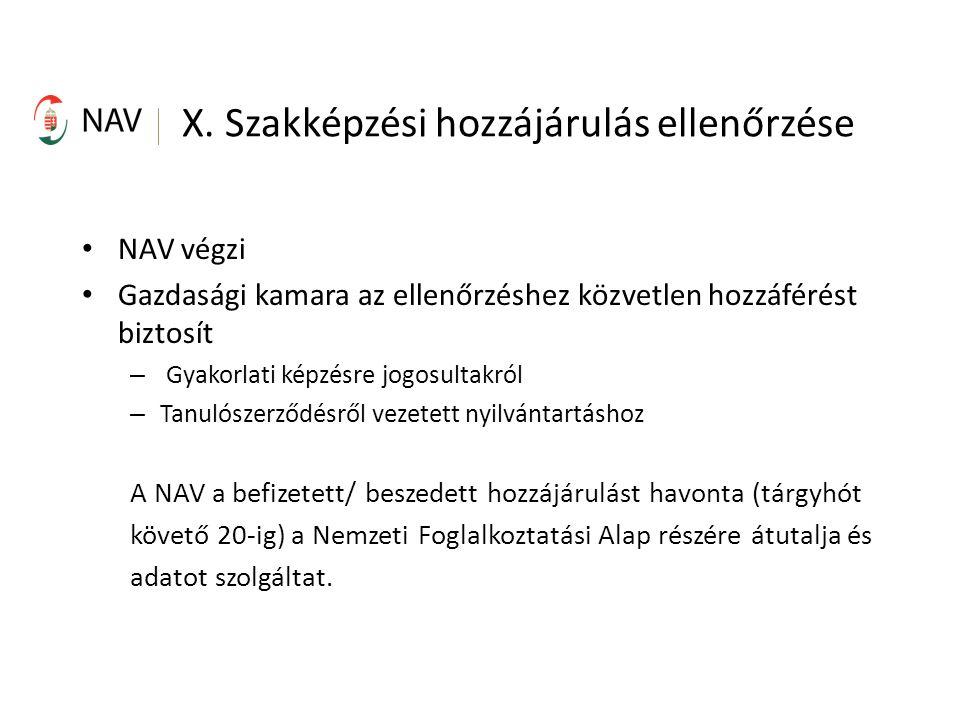X. Szakképzési hozzájárulás ellenőrzése NAV végzi Gazdasági kamara az ellenőrzéshez közvetlen hozzáférést biztosít – Gyakorlati képzésre jogosultakról