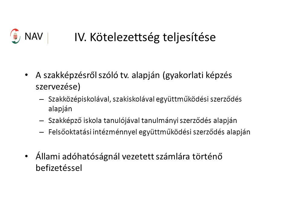 IV. Kötelezettség teljesítése A szakképzésről szóló tv.
