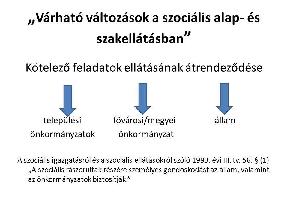 """"""" Várható változások a szociális alap- és szakellátásban Kötelező feladatok ellátásának átrendeződése települési fővárosi/megyei állam önkormányzatok önkormányzat A szociális igazgatásról és a szociális ellátásokról szóló 1993."""