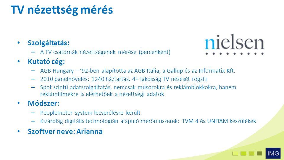 TV nézettség mérés Szolgáltatás: – A TV csatornák nézettségének mérése (percenként) Kutató cég: – AGB Hungary – '92-ben alapította az AGB Italia, a Gallup és az Informatix Kft.