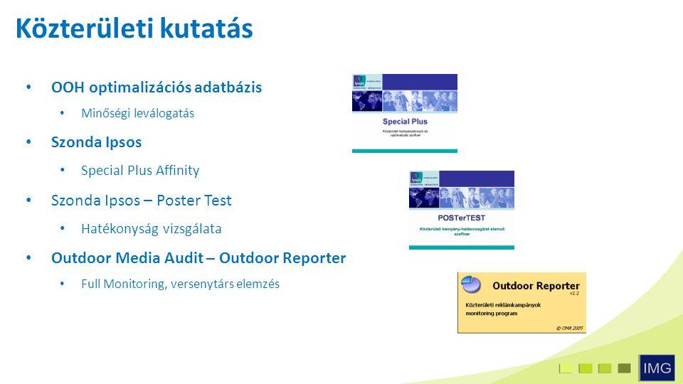 OOH optimalizációs adatbázis Minőségi leválogatás Szonda Ipsos Special Plus Affinity Szonda Ipsos – Poster Test Hatékonyság vizsgálata Outdoor Media Audit – Outdoor Reporter Full Monitoring, versenytárs elemzés Közterületi kutatás