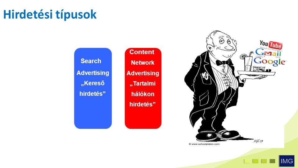 """Hirdetési típusok Search Advertising """"Kereső hirdetés Content Network Advertising """"Tartalmi hálókon hirdetés"""