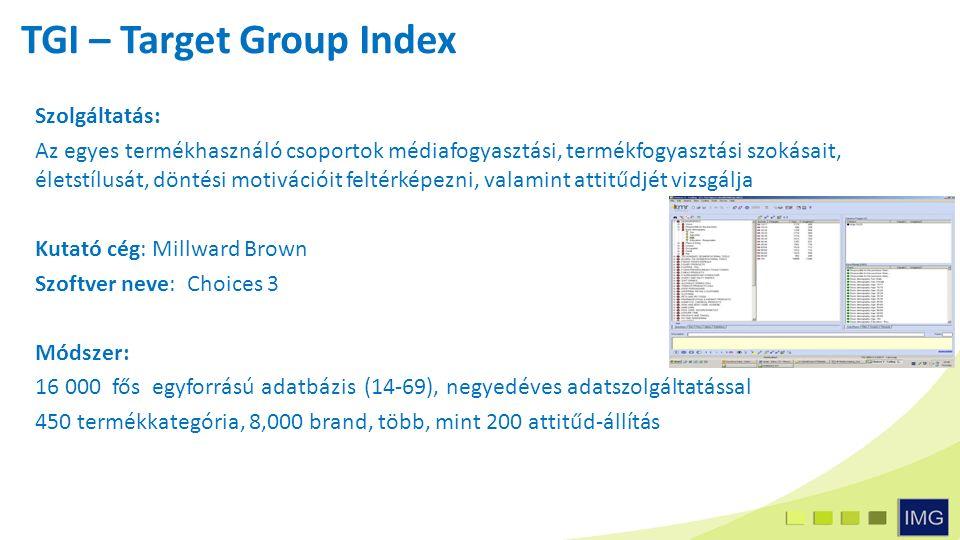 Szolgáltatás: Az egyes termékhasználó csoportok médiafogyasztási, termékfogyasztási szokásait, életstílusát, döntési motivációit feltérképezni, valamint attitűdjét vizsgálja Kutató cég: Millward Brown Szoftver neve: Choices 3 Módszer: 16 000 fős egyforrású adatbázis (14-69), negyedéves adatszolgáltatással 450 termékkategória, 8,000 brand, több, mint 200 attitűd-állítás TGI – Target Group Index