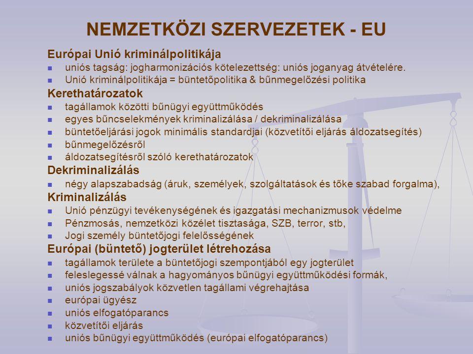 NEMZETKÖZI SZERVEZETEK - EU Európai Unió kriminálpolitikája uniós tagság: jogharmonizációs kötelezettség: uniós joganyag átvételére.