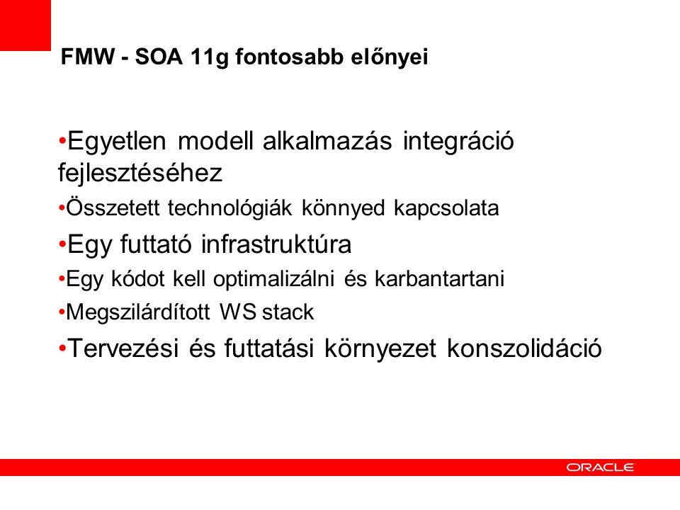 FMW - SOA 11g fontosabb előnyei Egyetlen modell alkalmazás integráció fejlesztéséhez Összetett technológiák könnyed kapcsolata Egy futtató infrastruktúra Egy kódot kell optimalizálni és karbantartani Megszilárdított WS stack Tervezési és futtatási környezet konszolidáció