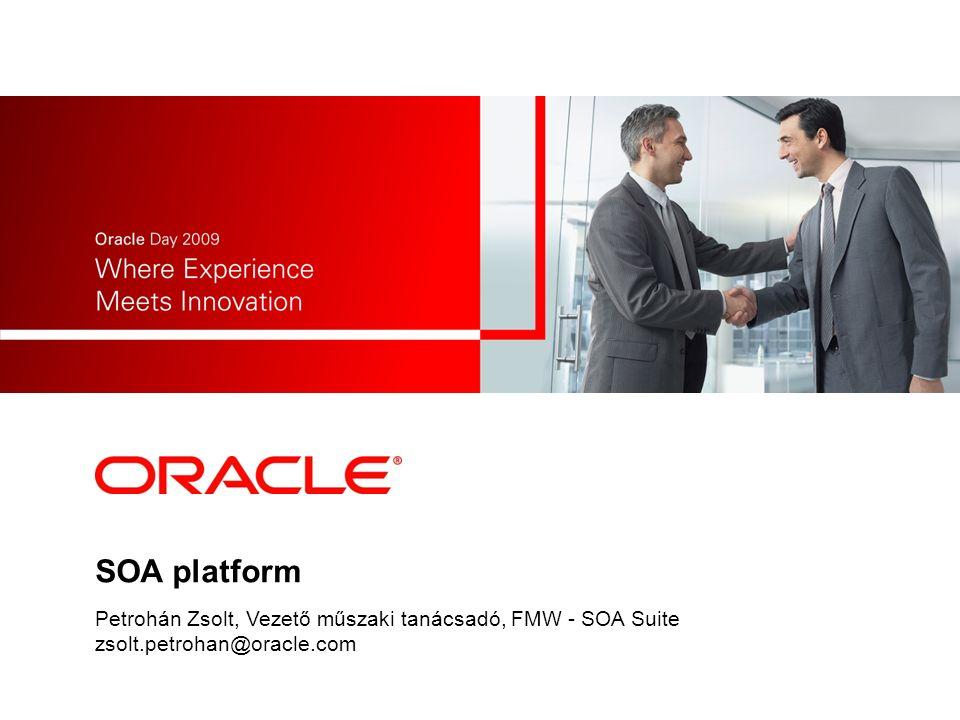 SOA infrastruktúra alap komponensei WEB SERVICE WEB SERVICE Legacy Fejleszt/újrafelhasznál szolgáltatásokat Web vagy meglévő szolgáltatások B2B