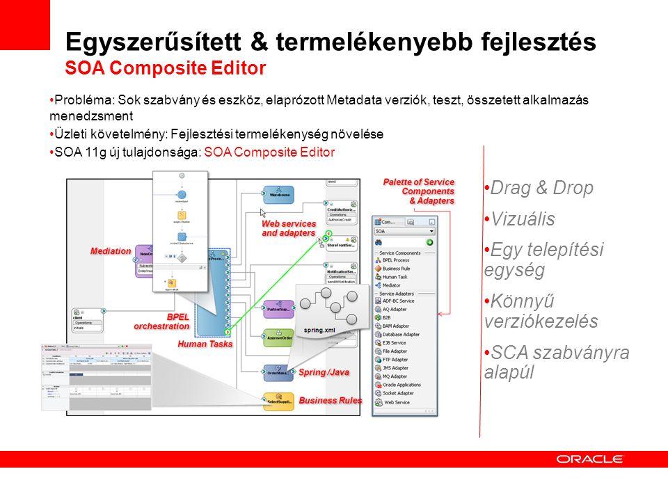Probléma: Sok szabvány és eszköz, elaprózott Metadata verziók, teszt, összetett alkalmazás menedzsment Üzleti követelmény: Fejlesztési termelékenység növelése SOA 11g új tulajdonsága: SOA Composite Editor Drag & Drop Vizuális Egy telepítési egység Könnyű verziókezelés SCA szabványra alapúl Egyszerűsített & termelékenyebb fejlesztés SOA Composite Editor