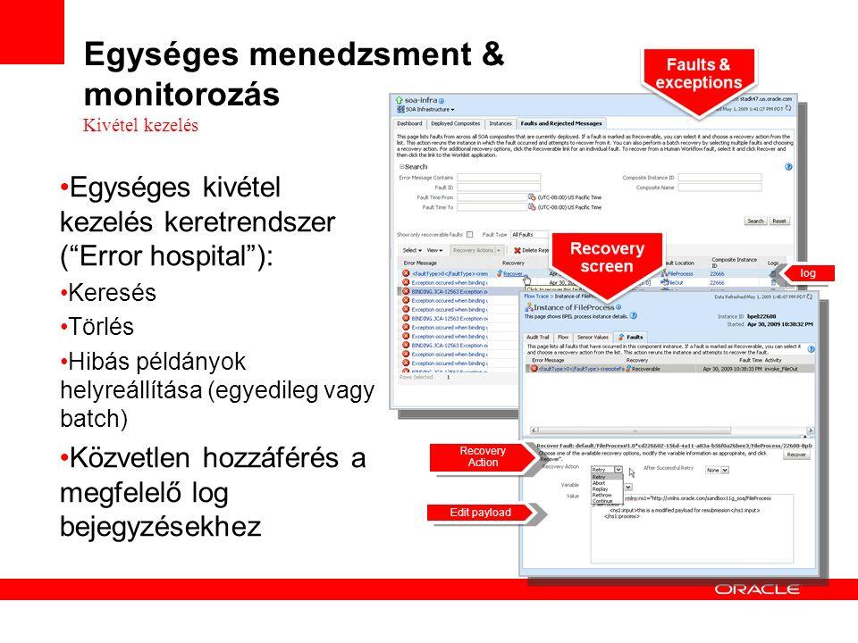 Egységes kivétel kezelés keretrendszer ( Error hospital ): Keresés Törlés Hibás példányok helyreállítása (egyedileg vagy batch) Közvetlen hozzáférés a megfelelő log bejegyzésekhez Recovery Action Edit payload log Egységes menedzsment & monitorozás Kivétel kezelés
