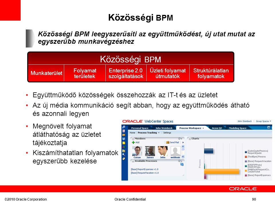 Közösségi BPM Munkaterület Folyamat területek Enterprise 2.0 szolgáltatások Struktúrálatlan folyamatok Üzleti folyamat útmutatók Közösségi BPM leegyszerűsíti az együttműködést, új utat mutat az egyszerűbb munkavégzéshez Együttműködő közösségek összehozzák az IT-t és az üzletet Az új média kommunikáció segít abban, hogy az együttműködés átható és azonnali legyen Megnövelt folyamat átláthatóság az üzletet tájékoztatja Kiszámíthatatlan folyamatok egyszerűbb kezelése ©2010 Oracle Corporation Oracle Confidential 90