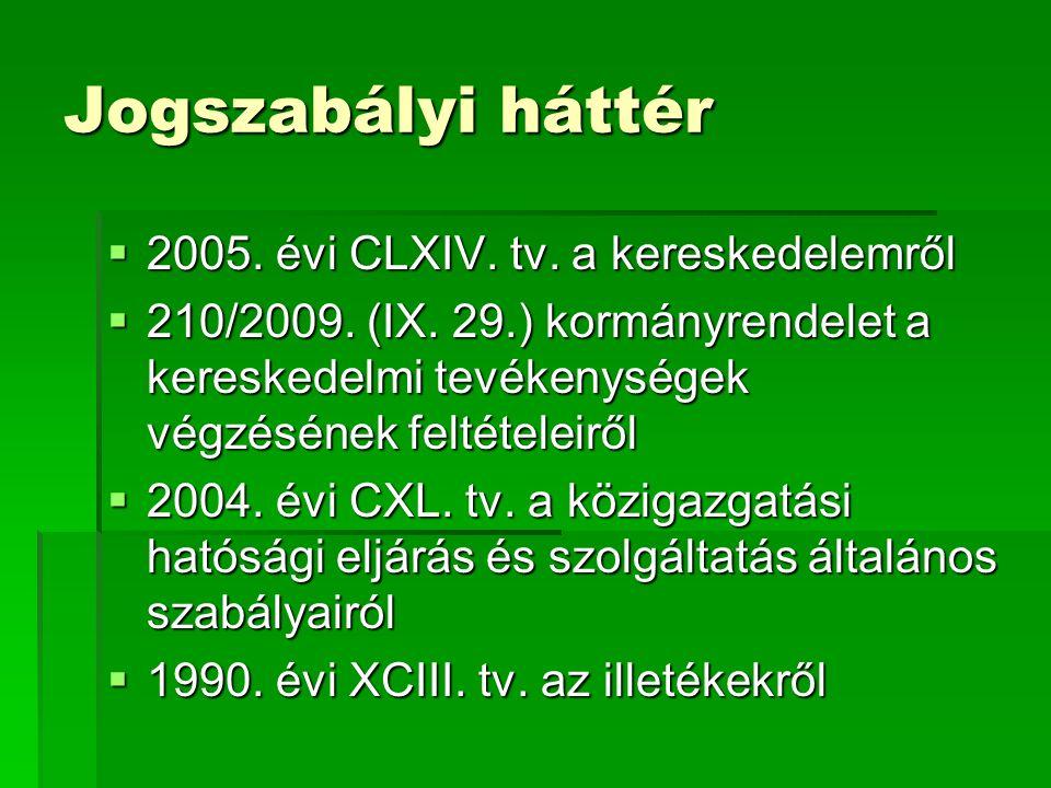Jogszabályi háttér  2005. évi CLXIV. tv. a kereskedelemről  210/2009.
