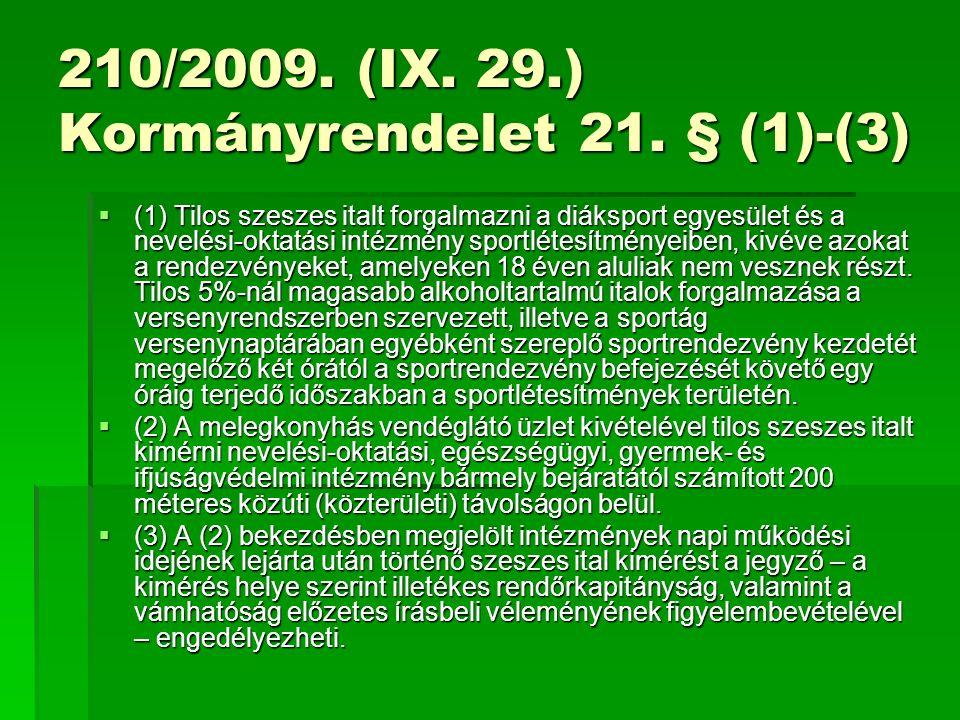 210/2009. (IX. 29.) Kormányrendelet 21.