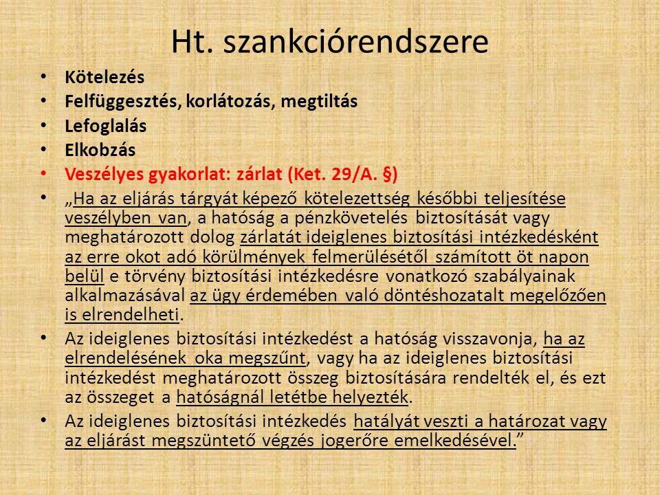 """Ht. szankciórendszere Kötelezés Felfüggesztés, korlátozás, megtiltás Lefoglalás Elkobzás Veszélyes gyakorlat: zárlat (Ket. 29/A. §) """"Ha az eljárás tár"""