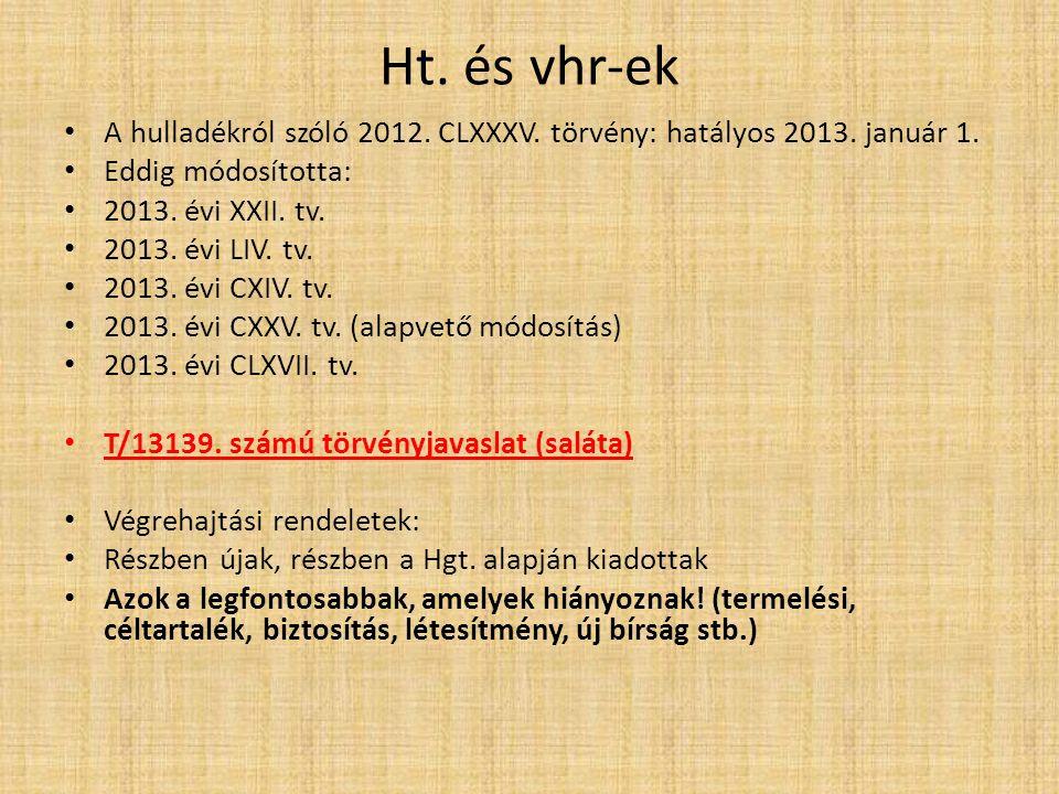Ht. és vhr-ek A hulladékról szóló 2012. CLXXXV. törvény: hatályos 2013.