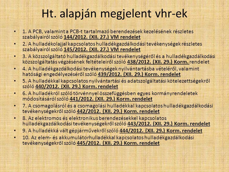 Ht. alapján megjelent vhr-ek 1. A PCB, valamint a PCB-t tartalmazó berendezések kezelésének részletes szabályairól szóló 144/2012. (XII. 27.) VM rende