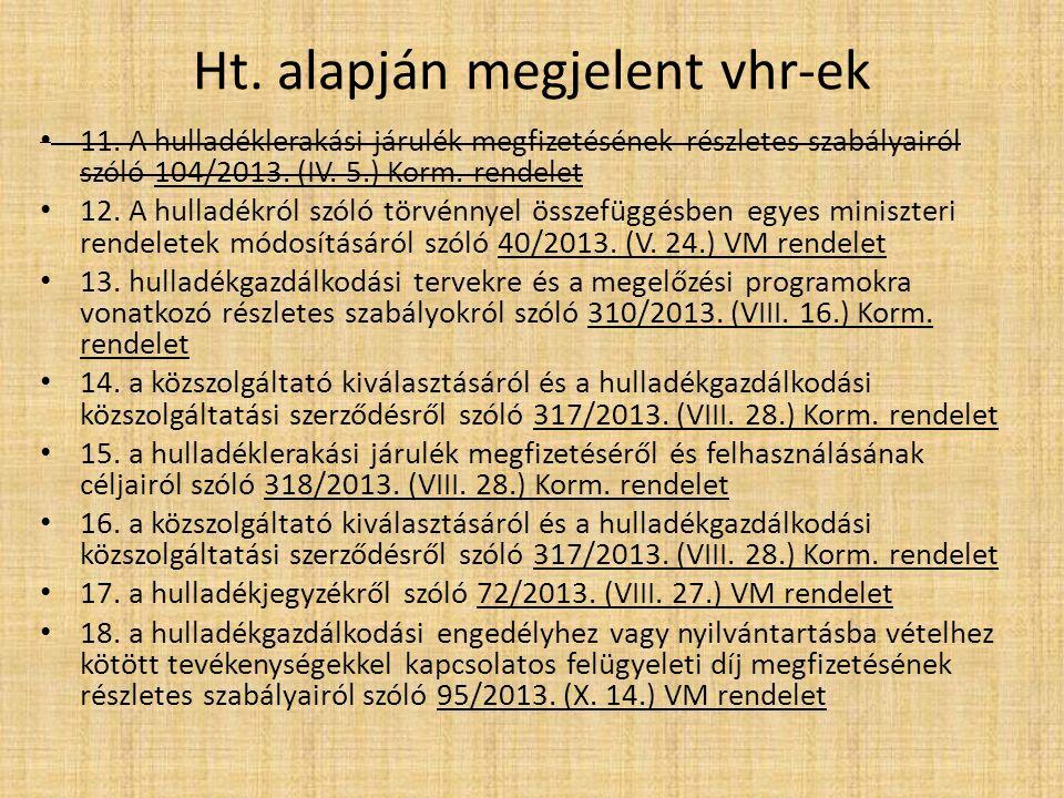 Ht. alapján megjelent vhr-ek 11. A hulladéklerakási járulék megfizetésének részletes szabályairól szóló 104/2013. (IV. 5.) Korm. rendelet 12. A hullad