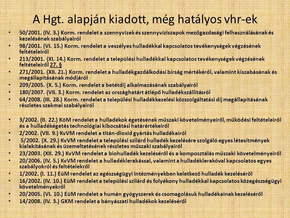 A Hgt. alapján kiadott, még hatályos vhr-ek 50/2001.