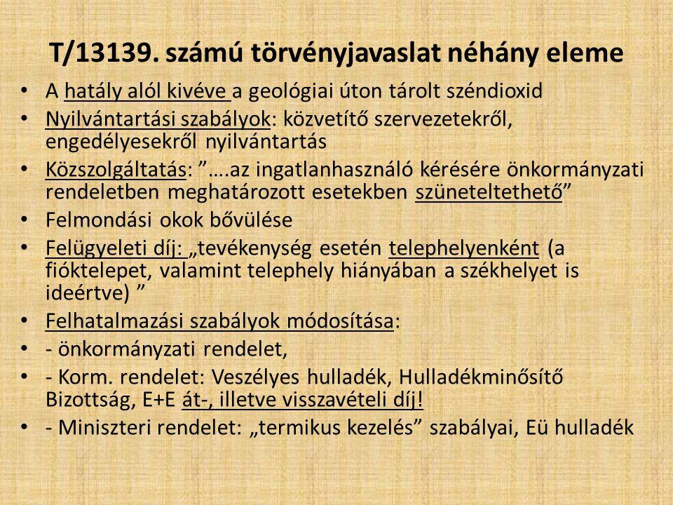 T/13139. számú törvényjavaslat néhány eleme A hatály alól kivéve a geológiai úton tárolt széndioxid Nyilvántartási szabályok: közvetítő szervezetekről