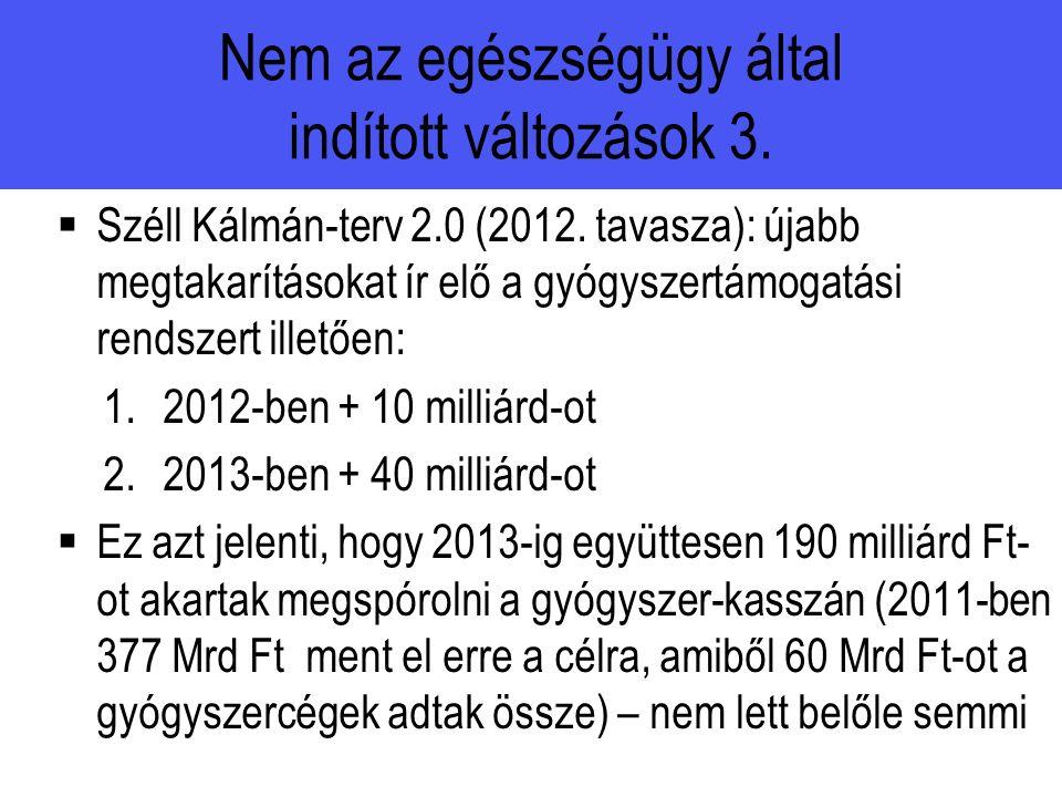 Nem az egészségügy által indított változások 3.  Széll Kálmán-terv 2.0 (2012.