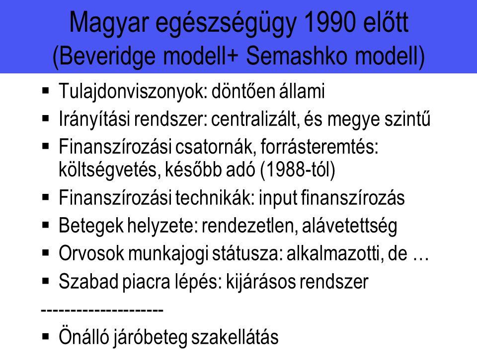 Magyar egészségügy 1990 előtt (Beveridge modell+ Semashko modell)  Tulajdonviszonyok: döntően állami  Irányítási rendszer: centralizált, és megye szintű  Finanszírozási csatornák, forrásteremtés: költségvetés, később adó (1988-tól)  Finanszírozási technikák: input finanszírozás  Betegek helyzete: rendezetlen, alávetettség  Orvosok munkajogi státusza: alkalmazotti, de …  Szabad piacra lépés: kijárásos rendszer ---------------------  Önálló járóbeteg szakellátás