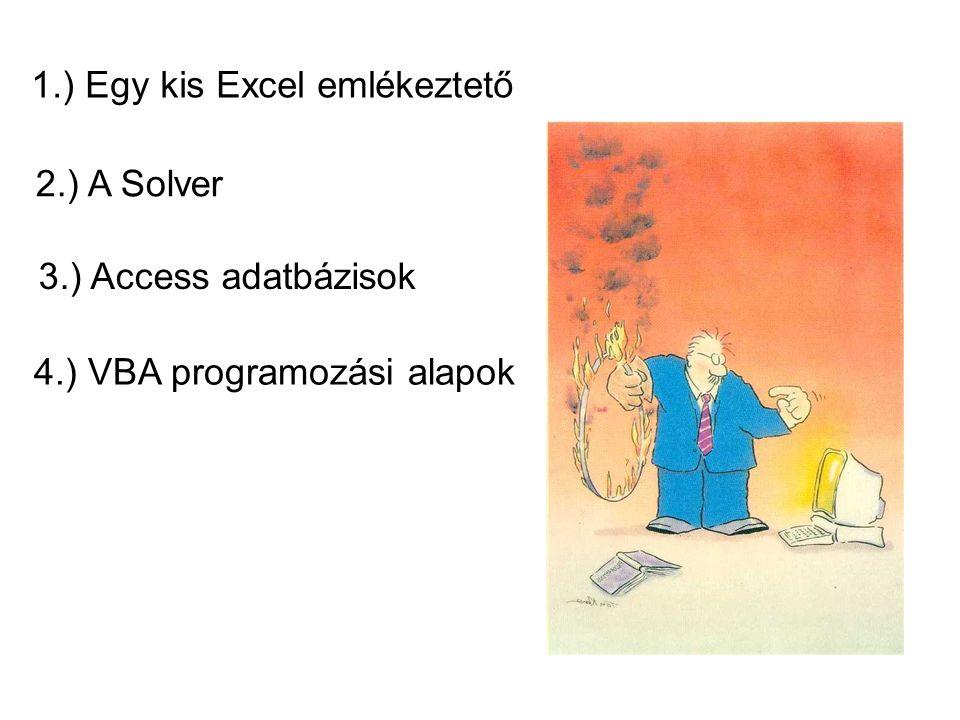 1.) Egy kis Excel emlékeztető 2.) A Solver 3.) Access adatbázisok 4.) VBA programozási alapok