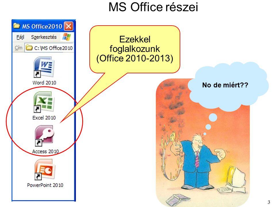 3 MS Office részei Ezekkel foglalkozunk (Office 2010-2013) No de miért??