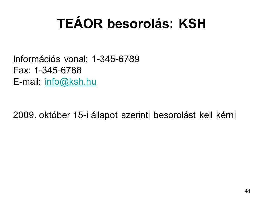 41 TEÁOR besorolás: KSH Információs vonal: 1-345-6789 Fax: 1-345-6788 E-mail: info@ksh.huinfo@ksh.hu 2009. október 15-i állapot szerinti besorolást ke