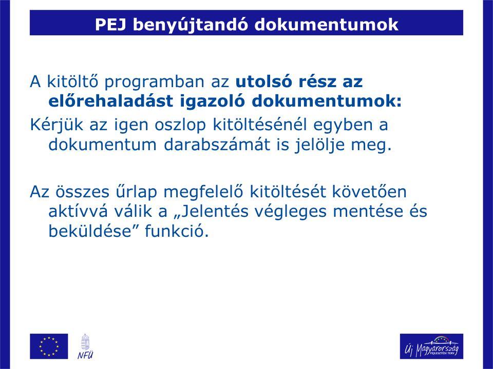 PEJ benyújtandó dokumentumok A kitöltő programban az utolsó rész az előrehaladást igazoló dokumentumok: Kérjük az igen oszlop kitöltésénél egyben a dokumentum darabszámát is jelölje meg.