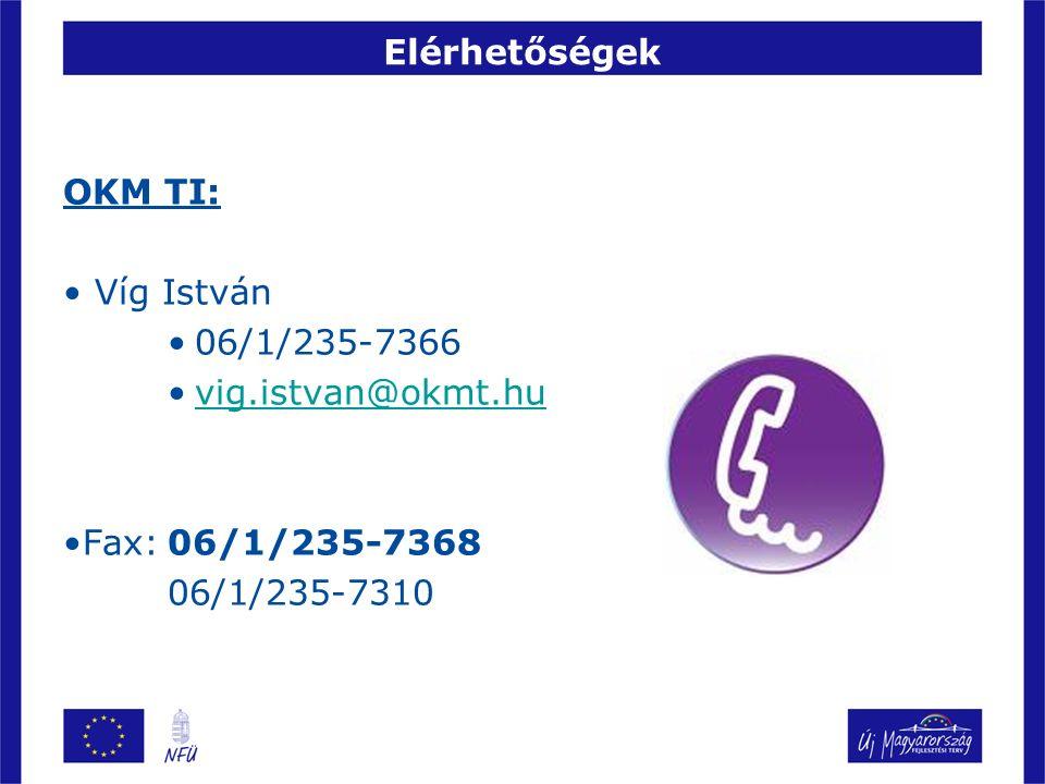 Elérhetőségek OKM TI: Víg István 06/1/235-7366 vig.istvan@okmt.hu Fax:06/1/235-7368 06/1/235-7310