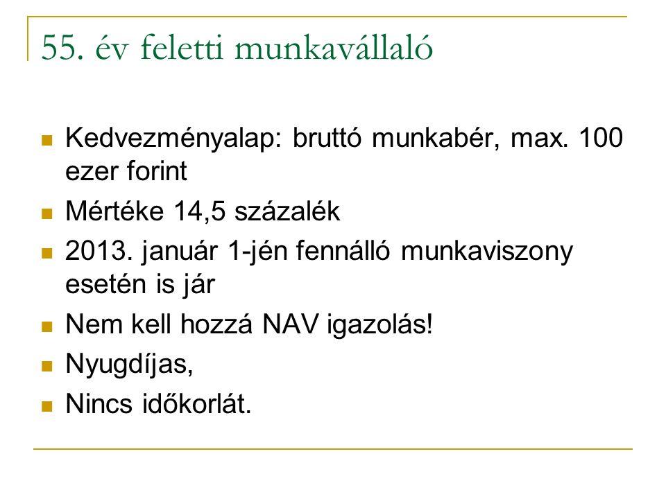 55. év feletti munkavállaló Kedvezményalap: bruttó munkabér, max. 100 ezer forint Mértéke 14,5 százalék 2013. január 1-jén fennálló munkaviszony eseté