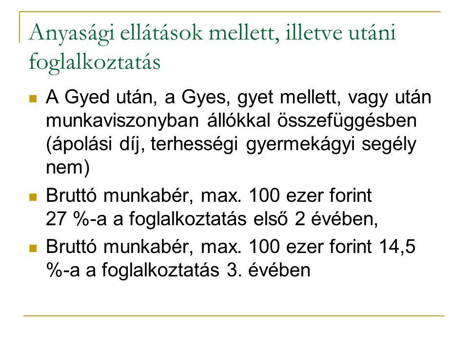 Anyasági ellátások mellett, illetve utáni foglalkoztatás Korlátok: 45 hónap, illetve 3 év.
