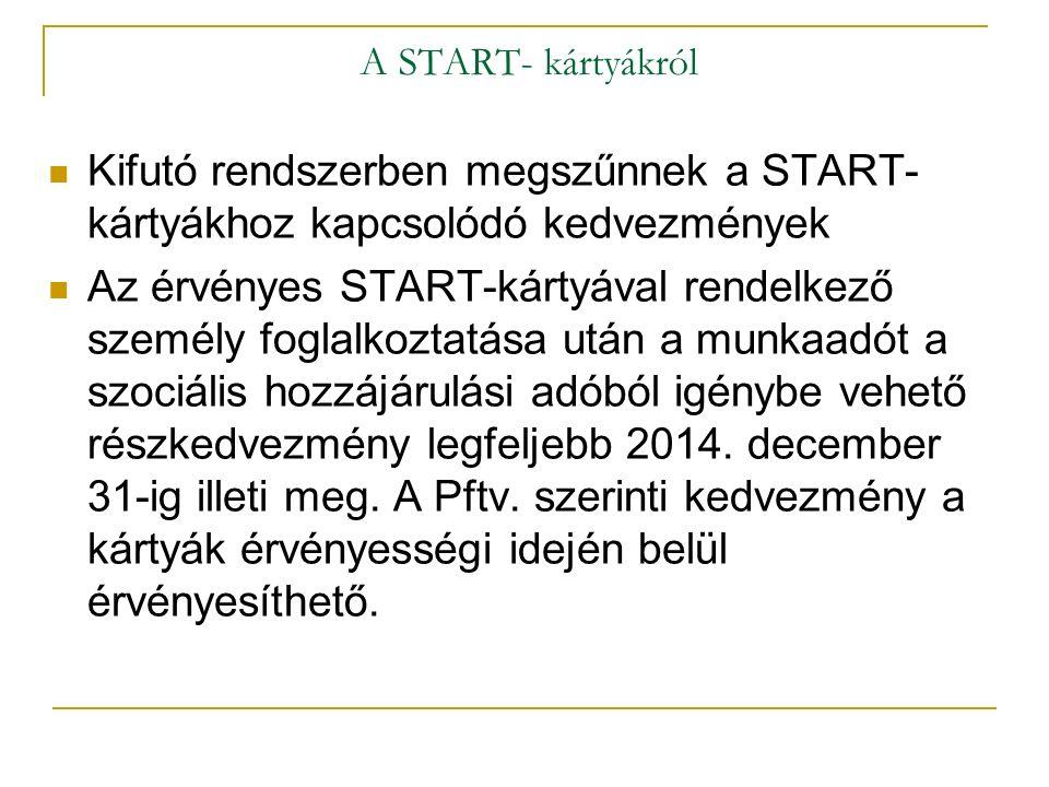 A START- kártyákról Kifutó rendszerben megszűnnek a START- kártyákhoz kapcsolódó kedvezmények Az érvényes START-kártyával rendelkező személy foglalkoz