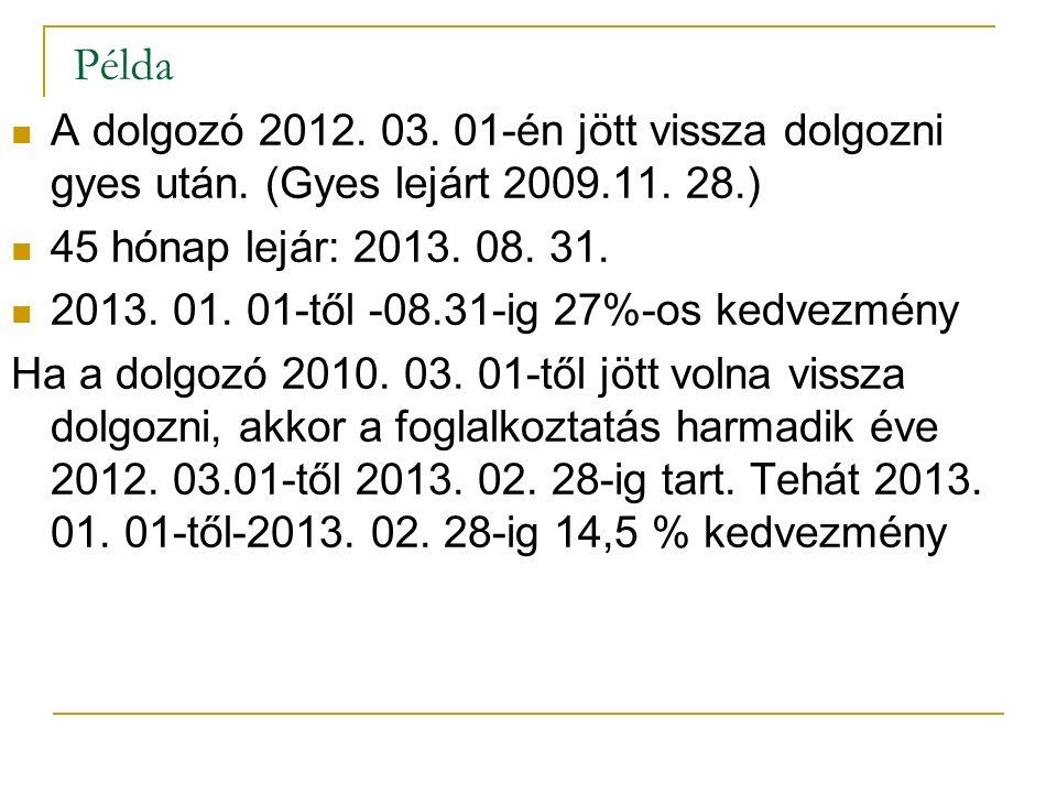 Példa A dolgozó 2012. 03. 01-én jött vissza dolgozni gyes után. (Gyes lejárt 2009.11. 28.) 45 hónap lejár: 2013. 08. 31. 2013. 01. 01-től -08.31-ig 27