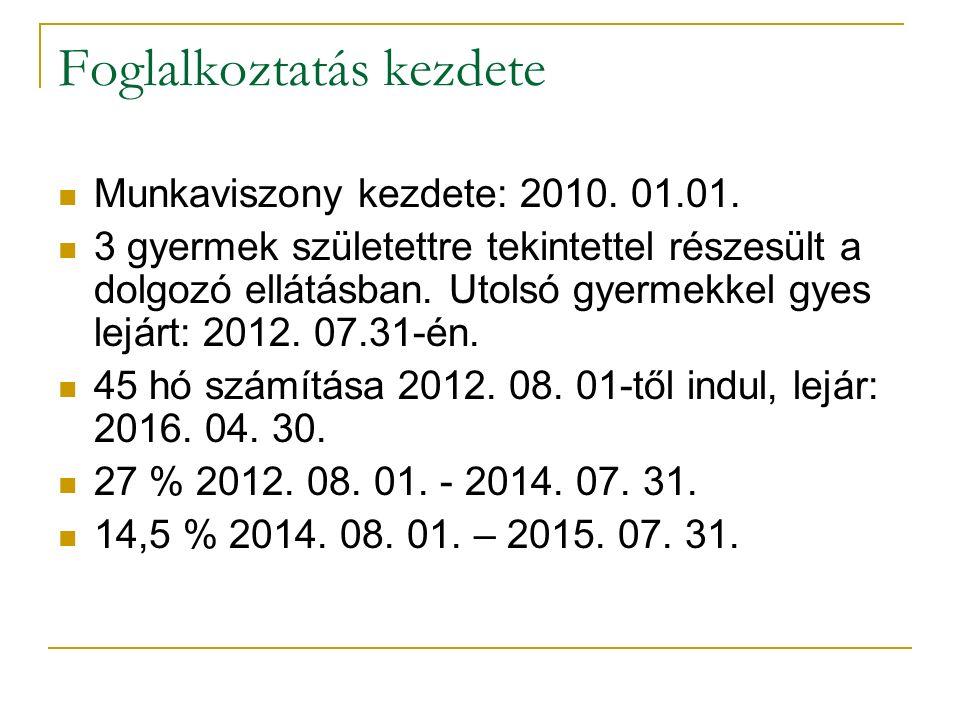 Foglalkoztatás kezdete Munkaviszony kezdete: 2010. 01.01. 3 gyermek születettre tekintettel részesült a dolgozó ellátásban. Utolsó gyermekkel gyes lej