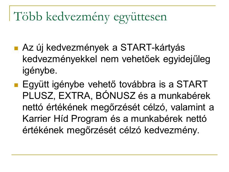 Több kedvezmény együttesen Az új kedvezmények a START-kártyás kedvezményekkel nem vehetőek egyidejűleg igénybe. Együtt igénybe vehető továbbra is a ST