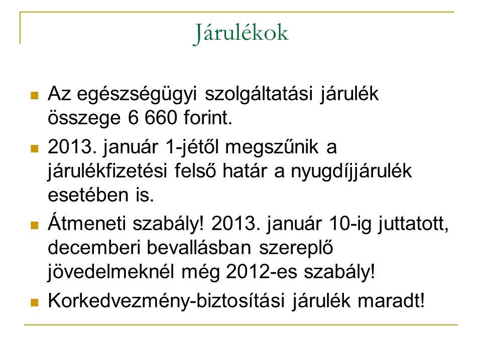 Járulékok Az egészségügyi szolgáltatási járulék összege 6 660 forint. 2013. január 1-jétől megszűnik a járulékfizetési felső határ a nyugdíjjárulék es