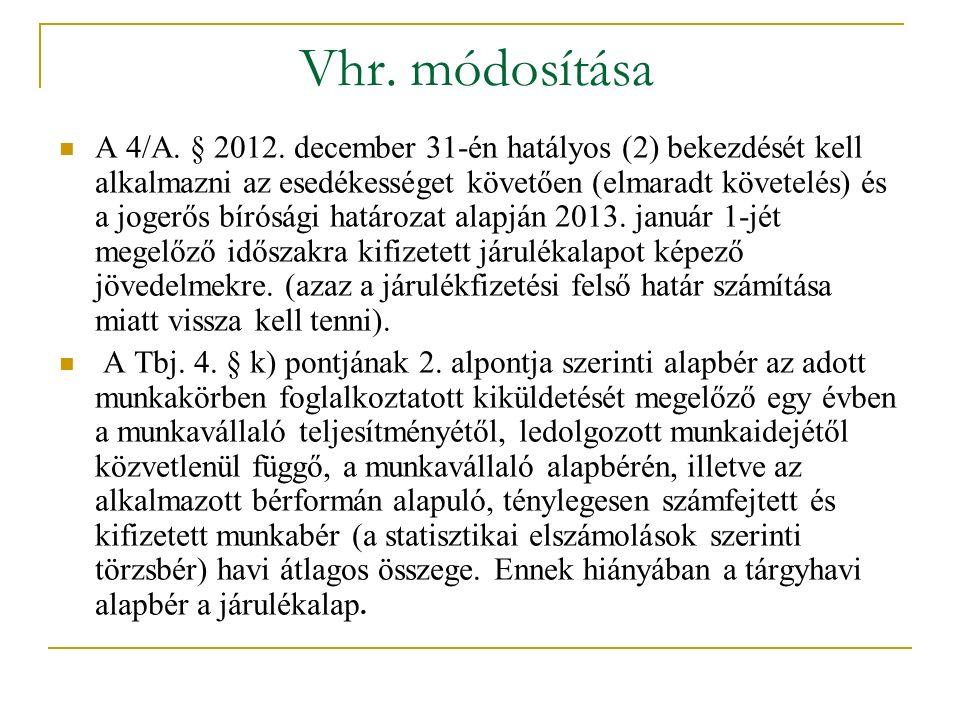 Vhr. módosítása A 4/A. § 2012. december 31-én hatályos (2) bekezdését kell alkalmazni az esedékességet követően (elmaradt követelés) és a jogerős bíró