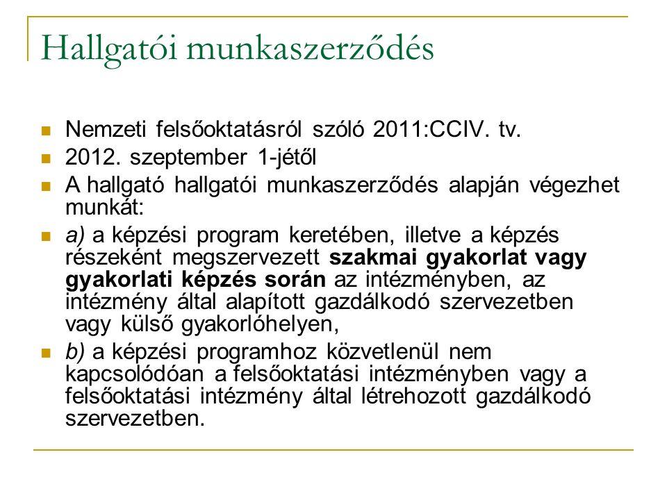 Hallgatói munkaszerződés Nemzeti felsőoktatásról szóló 2011:CCIV. tv. 2012. szeptember 1-jétől A hallgató hallgatói munkaszerződés alapján végezhet mu