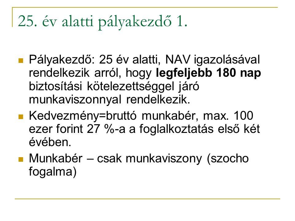 25. év alatti pályakezdő 1. Pályakezdő: 25 év alatti, NAV igazolásával rendelkezik arról, hogy legfeljebb 180 nap biztosítási kötelezettséggel járó mu