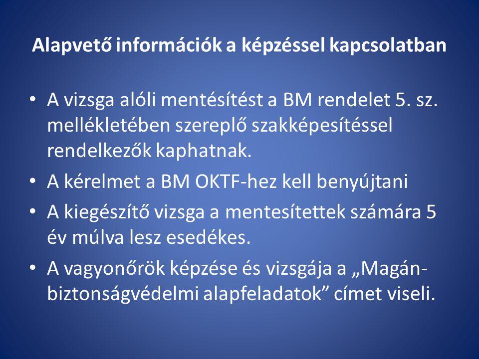 Alapvető információk a képzéssel kapcsolatban A vizsga alóli mentésítést a BM rendelet 5.