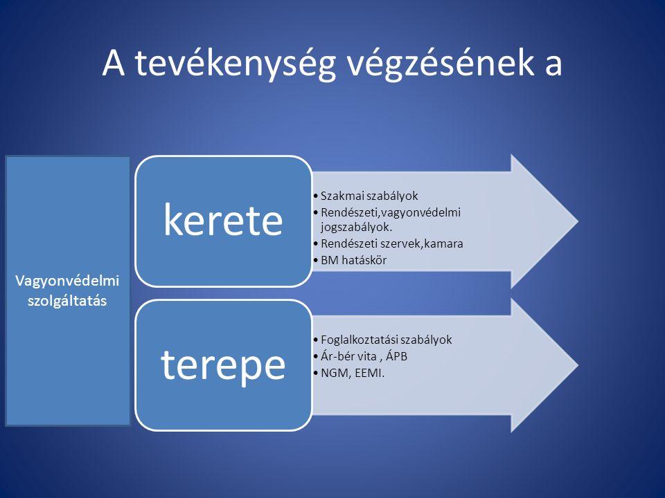 A tevékenység végzésének a Szakmai szabályok Rendészeti,vagyonvédelmi jogszabályok.