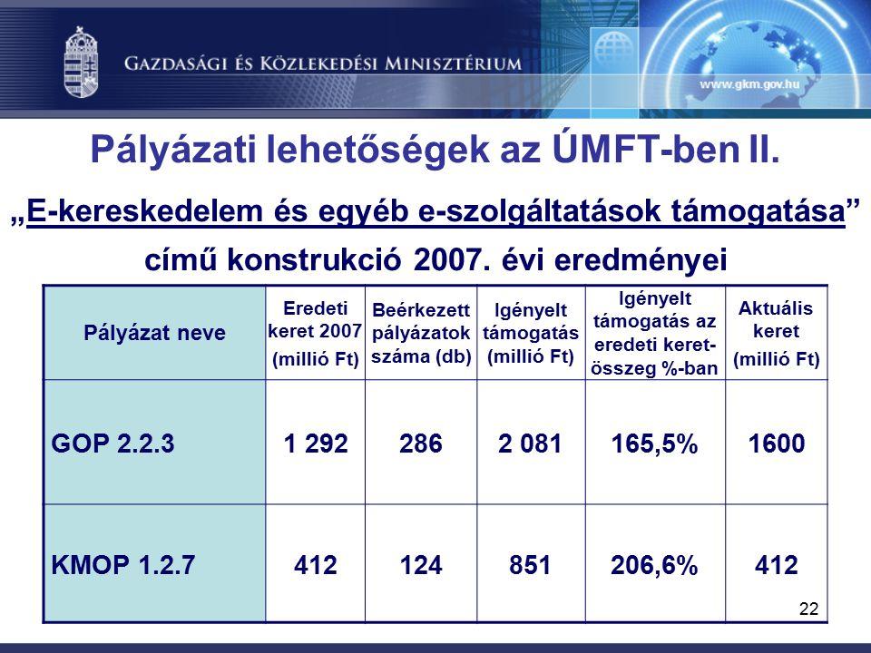 22 Pályázati lehetőségek az ÚMFT-ben II.