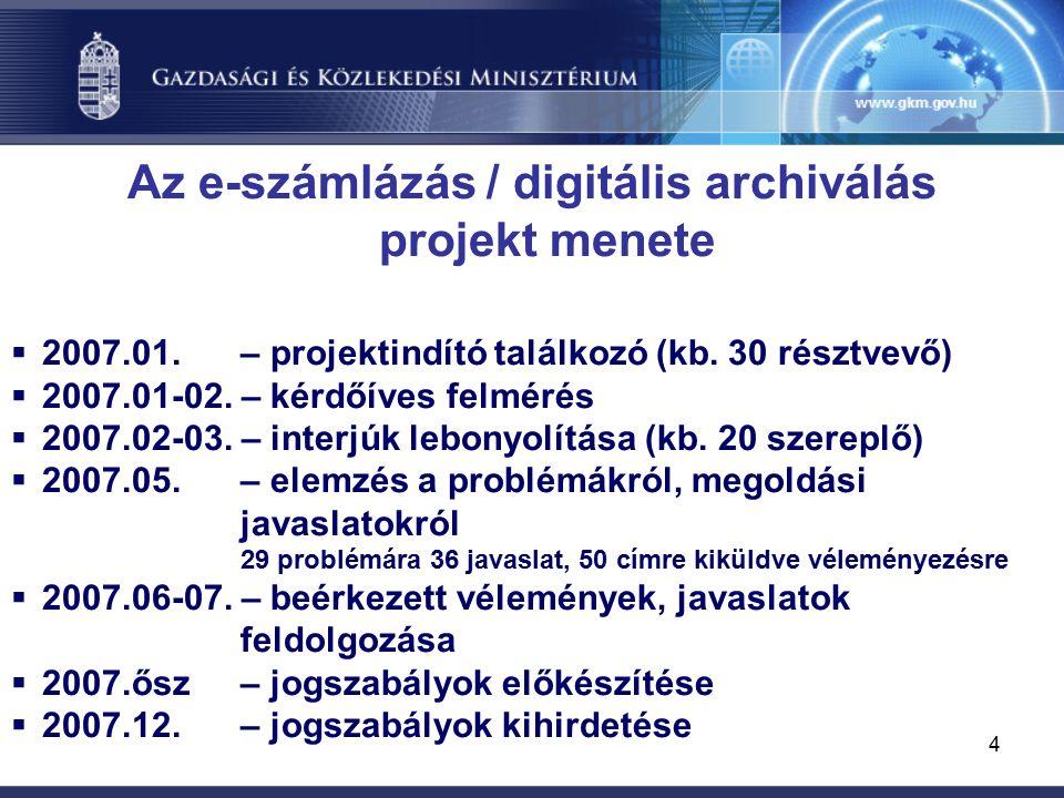 4 Az e-számlázás / digitális archiválás projekt menete  2007.01.