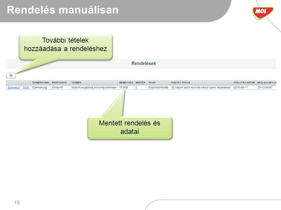 15 Rendelés manuálisan Mentett rendelés és adatai További tételek hozzáadása a rendeléshez