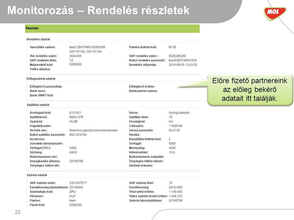 25 Monitorozás – Rendelés részletek Előre fizető partnereink az előleg bekérő adatait itt találják.