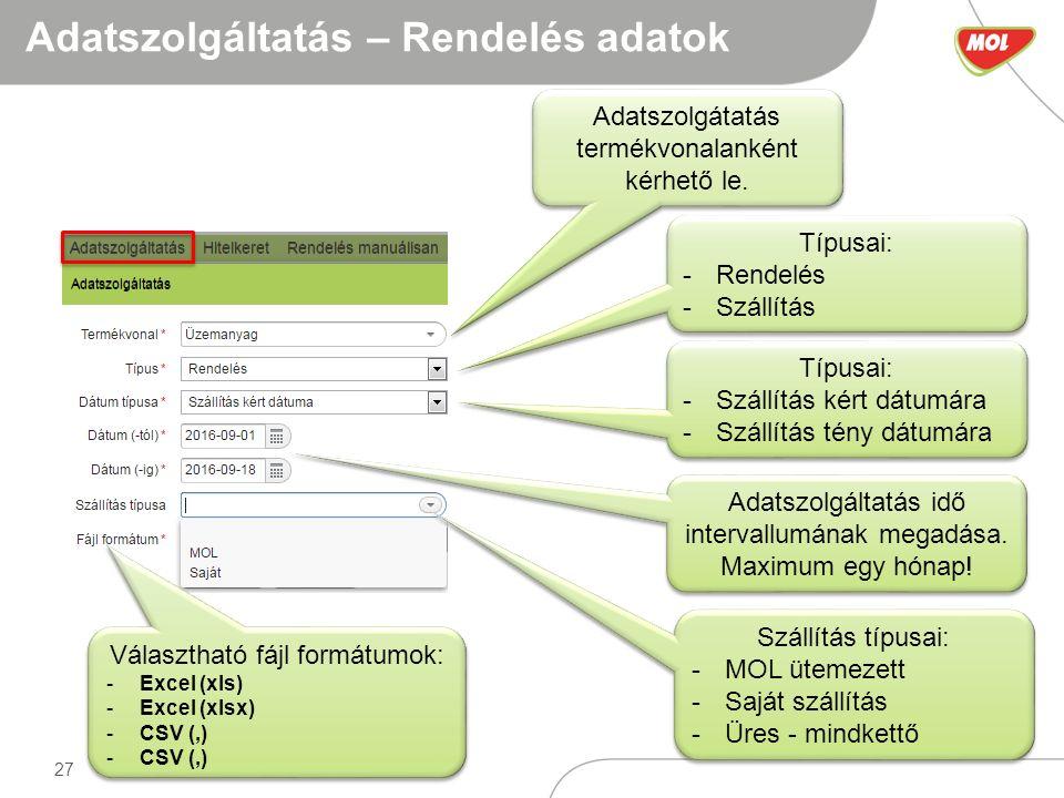 27 Adatszolgáltatás – Rendelés adatok Adatszolgátatás termékvonalanként kérhető le.