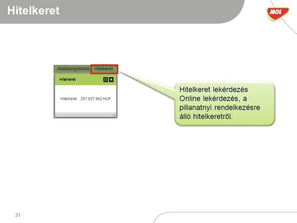 31 Hitelkeret Hitelkeret lekérdezés Online lekérdezés, a pillanatnyi rendelkezésre álló hitelkeretről.