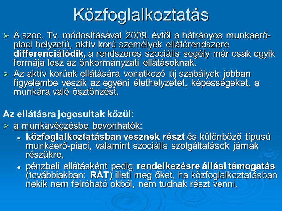Közfoglalkoztatás  A szoc. Tv. módosításával 2009.