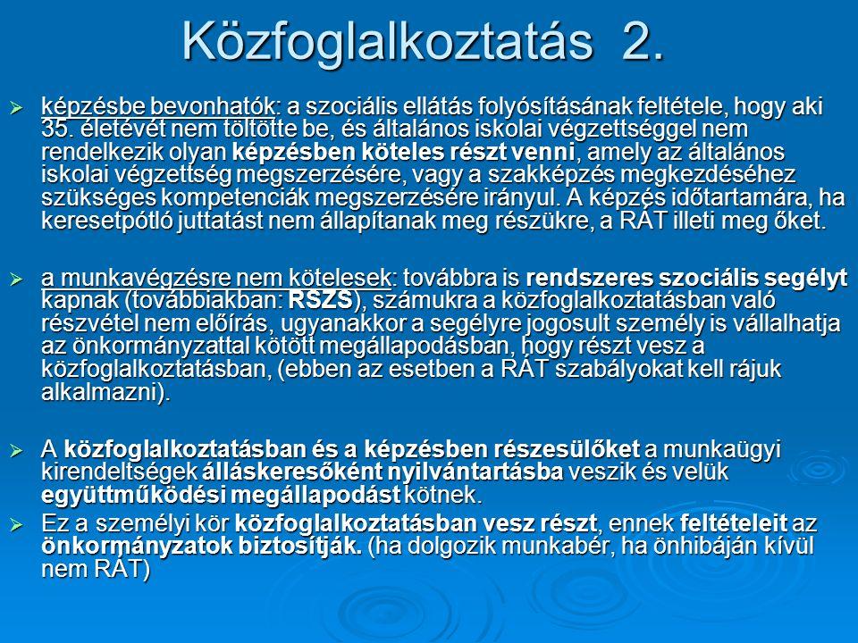 Közfoglalkoztatás 2.  képzésbe bevonhatók: a szociális ellátás folyósításának feltétele, hogy aki 35. életévét nem töltötte be, és általános iskolai