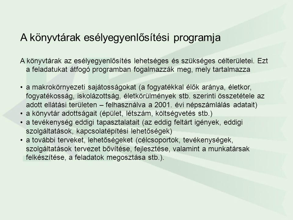 A könyvtárak esélyegyenlősítési programja A könyvtárak az esélyegyenlősítés lehetséges és szükséges célterületei.